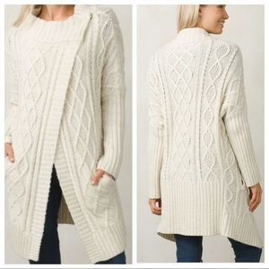 Prana Delaney ivory cable knit cardigan duster